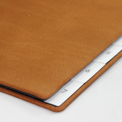 Weekly desk folder with nubuk leather cover in cognac