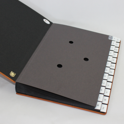 Alphabethical desk folder with nubuk leather cover in cognac