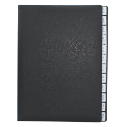 Monthly desk folder with black grained leather cover