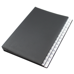 Daily desk folder with black grained leather cover