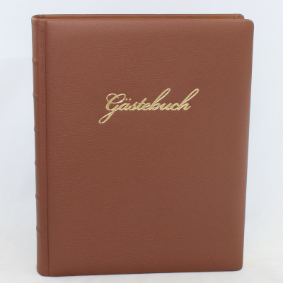 Guestbook Grained Leather Brown with Embossing