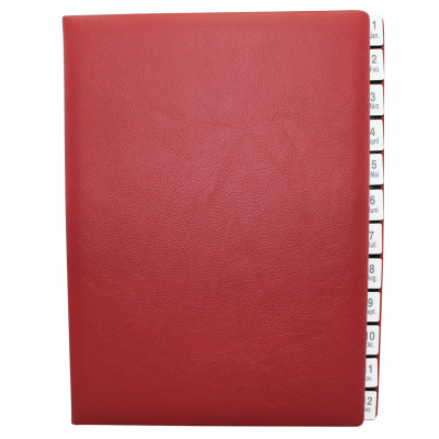 Monthly Desk File Sorter with Wine Red Grained Leather Cover