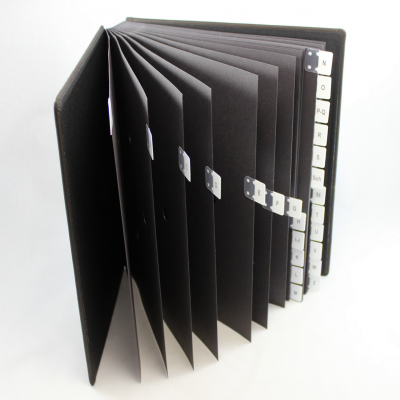 Alphabetical Desk File Sorter with Black Grained Leather Cover