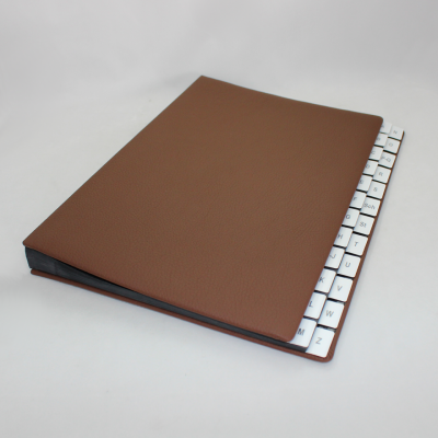 Alphabetical Desk File Sorter with Brown Grained Leather Cover