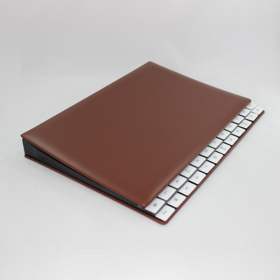 Alphabetical Desk File Sorter with Brown Smooth Full Cowhide Cover