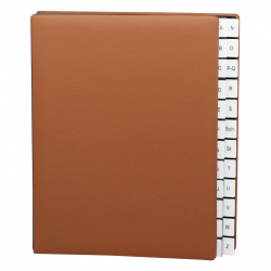 Alphabetical Desk File Sorter with Cognac Grained Leather Cover
