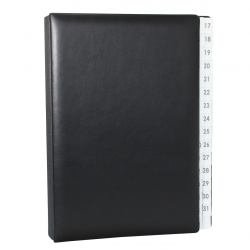 Daily Desk File Sorter with Black Smooth Full Cowhide Cover