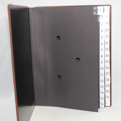 Daily Desk File Sorter with Brown Grained Leather Cover