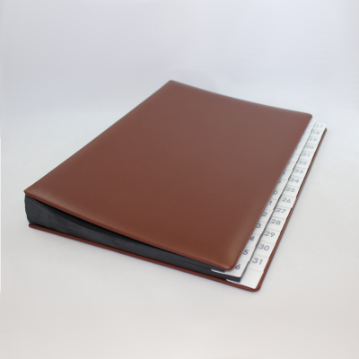 Daily Desk File Sorter with Brown Smooth Full Cowhide Cover