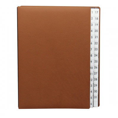 Daily Desk File Sorter with Cognac Grained Leather Cover