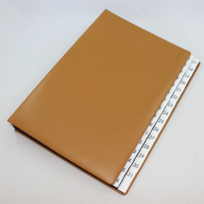 Daily Desk File Sorter with Cognac Smooth Full Cowhide Cover