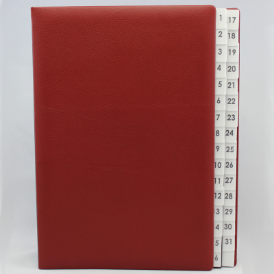 Daily Desk File Sorter with Wine Red Grained Leather Cover