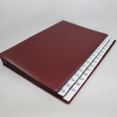 Daily Desk File Sorter with Wine Red Smooth Full Cowhide Cover