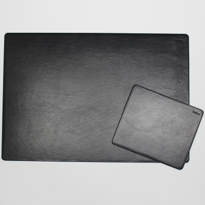 Leather Desk Pad with Matching Mousepad in Black