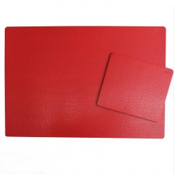 Desk Pad Ostrich with Matching Mousepad in Red