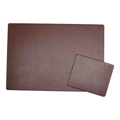 Leather Desk Pad with Matching Mousepad in Brown