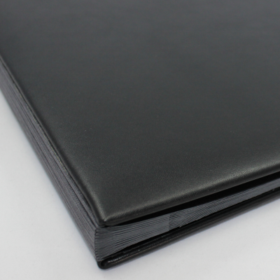 Monthly Desk File Sorter with Black Smooth Full Cowhide Cover