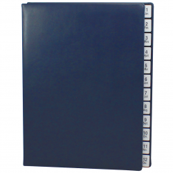 Monthly Desk File Sorter with Blue Smooth Full Cowhide Cover