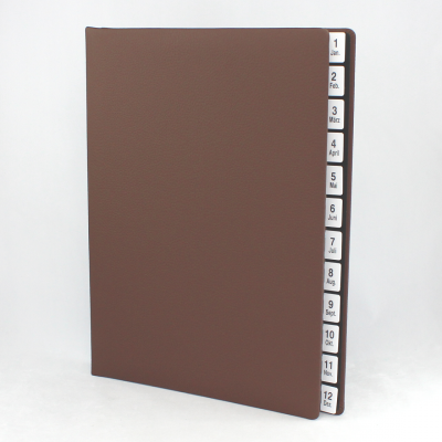 Monthly Desk File Sorter with Brown Grained Leather Cover