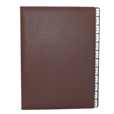 Monthly Desk File Sorter with Brown Smooth Full Cowhide Cover