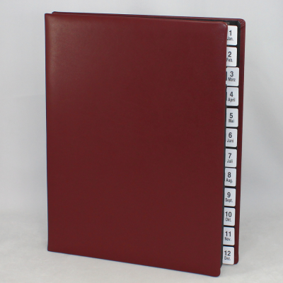 Monthly Desk File Sorter with Wine Red Smooth Full Cowhide Cover