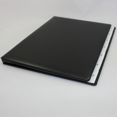 Weekly Desk File Sorter with Black Smooth Full Cowhide Cover
