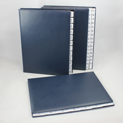Weekly Desk File Sorter with Blue Smooth Full Cowhide Cover