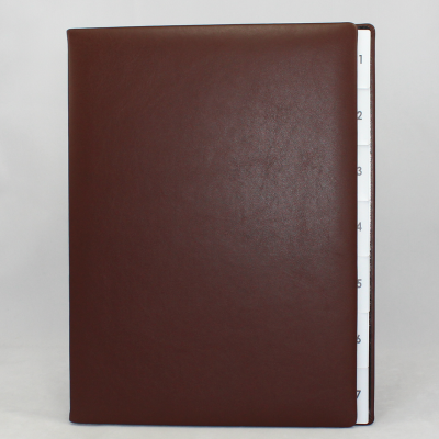 Weekly Desk File Sorter with Brown Smooth Full Cowhide Cover