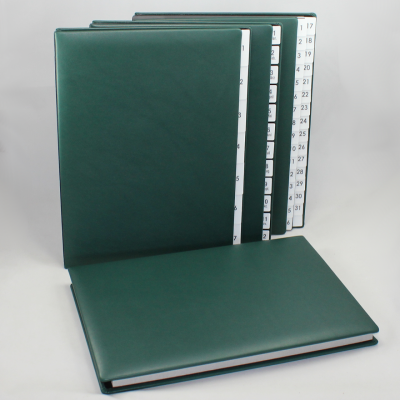 Weekly Desk File Sorter with Green Smooth Full Cowhide Cover