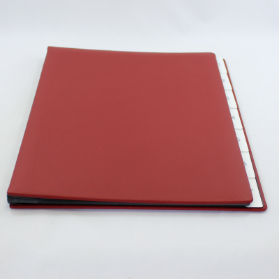 Weekly Desk File Sorter with Wine Red Grained Leather Cover