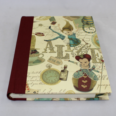 Notebook Alice with Wine Red Bookbinding Linen